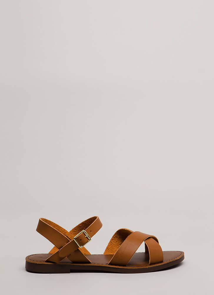 Strappy Memories Faux Leather Sandals TAN
