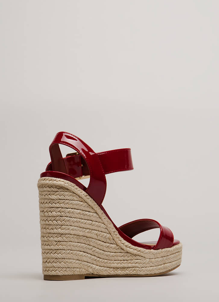 Over The Edge Jute Trim Wedges RED