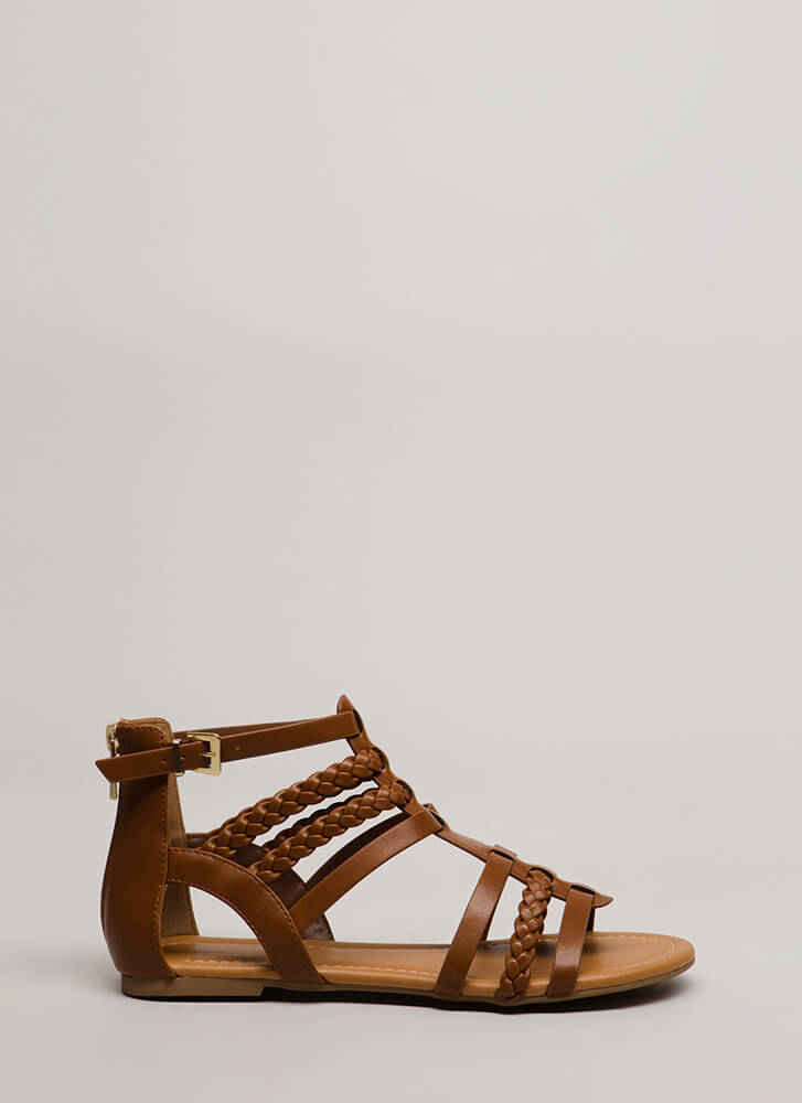 Gladiator Games Strappy Braided Sandals TAN