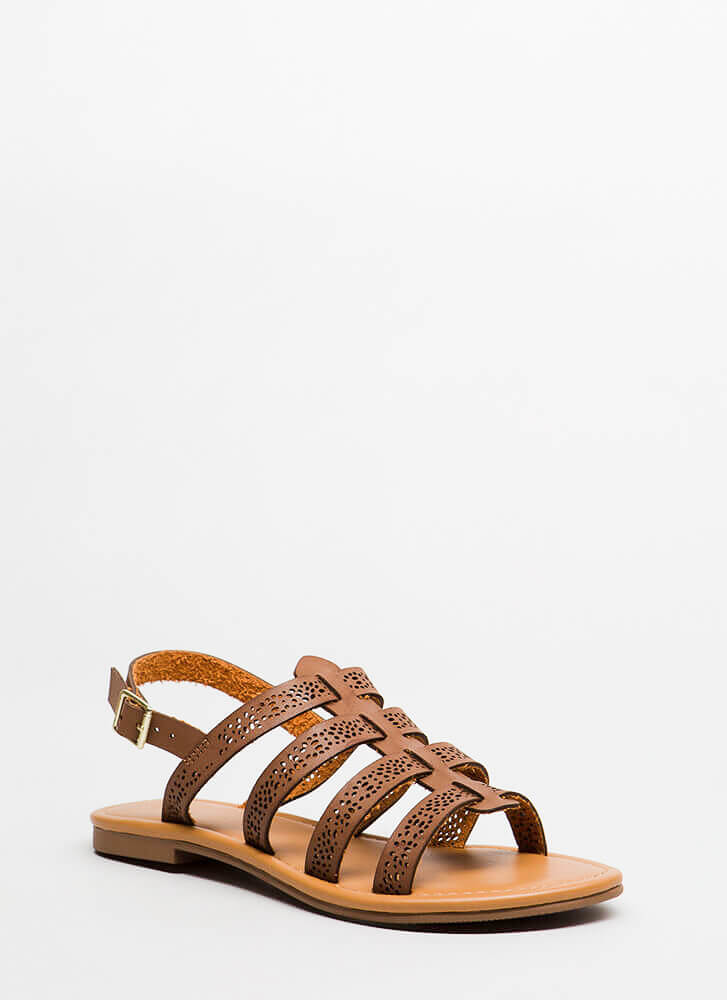 Chic Stroll Strappy Perforated Sandals BROWN