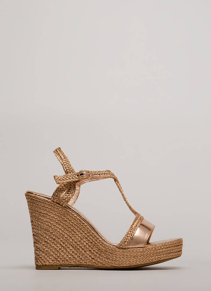 Time To Shine Braided Platform Wedges ROSEGOLD (Final Sale)