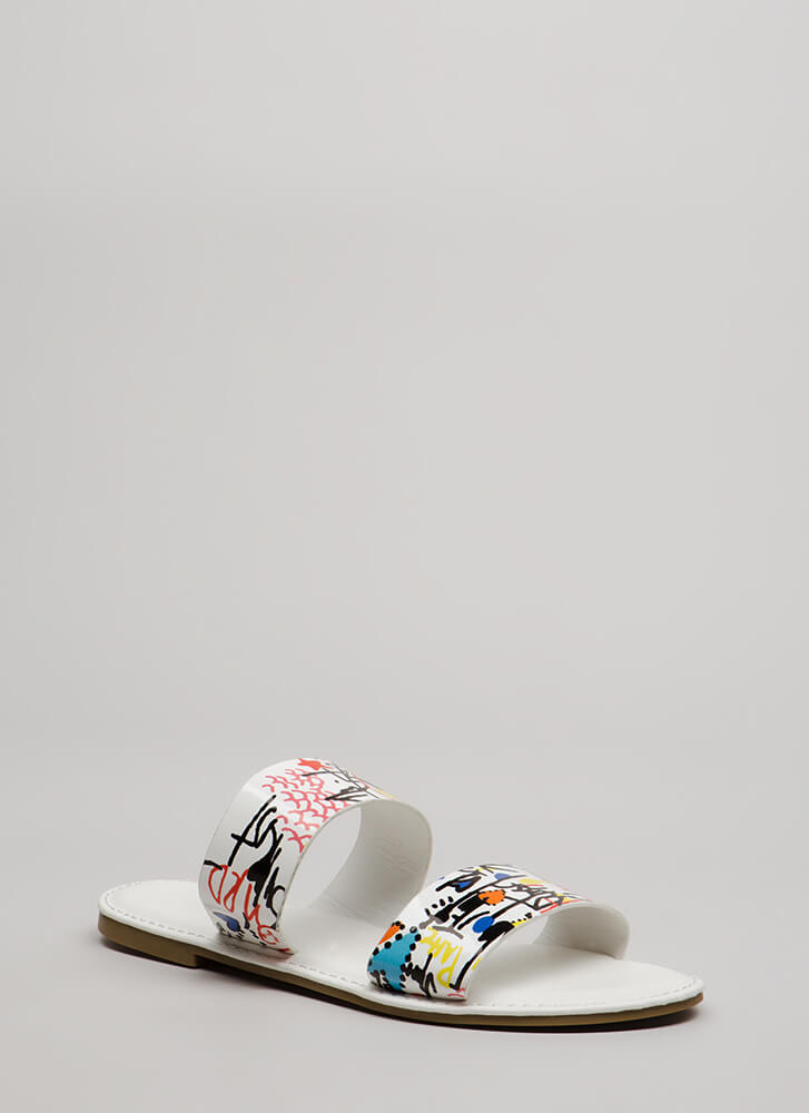 Draw Attention Doodle Slide Sandals WHITEMULTI