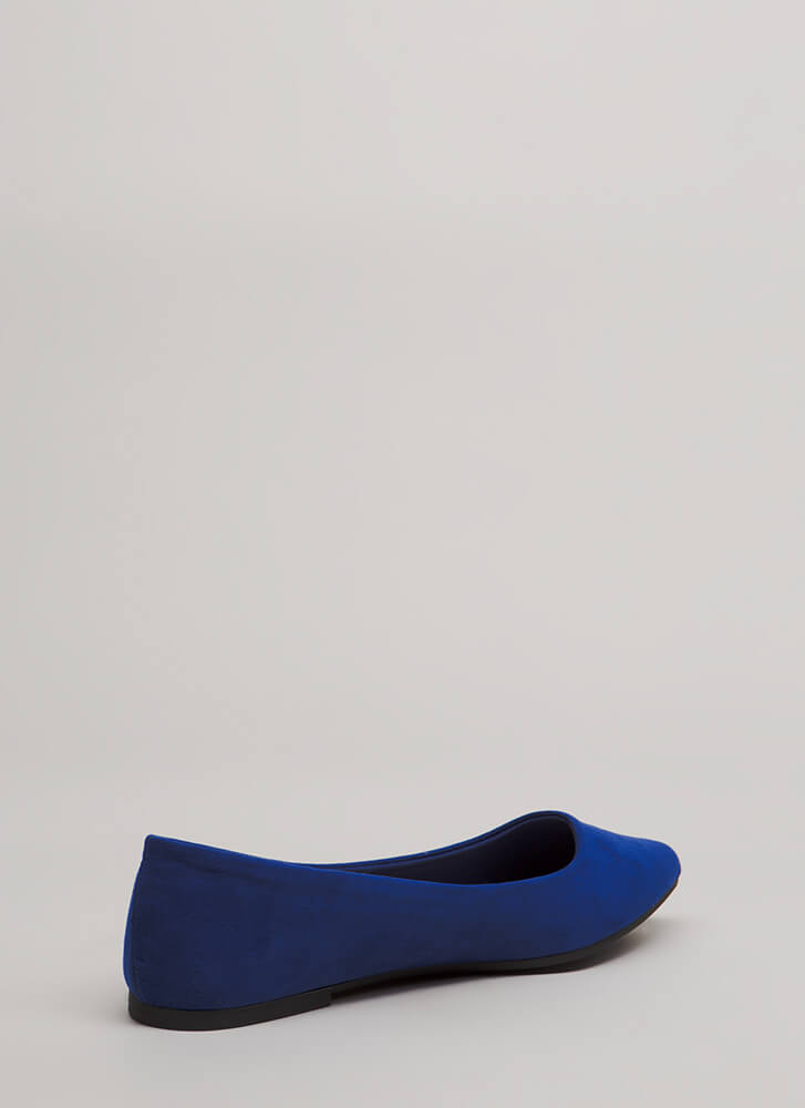 Keeps Me Grounded Faux Suede Flats BLUE