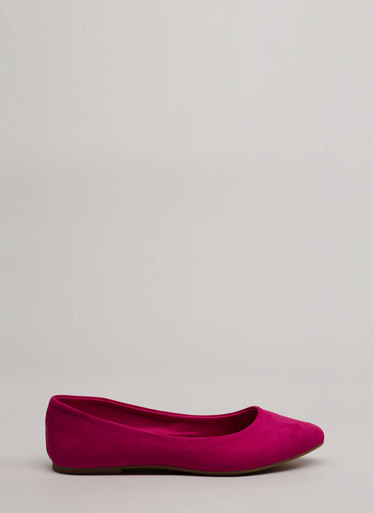 Keeps Me Grounded Faux Suede Flats FUCHSIA