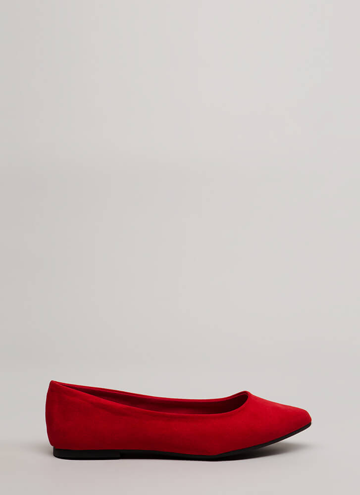 Keeps Me Grounded Faux Suede Flats RED