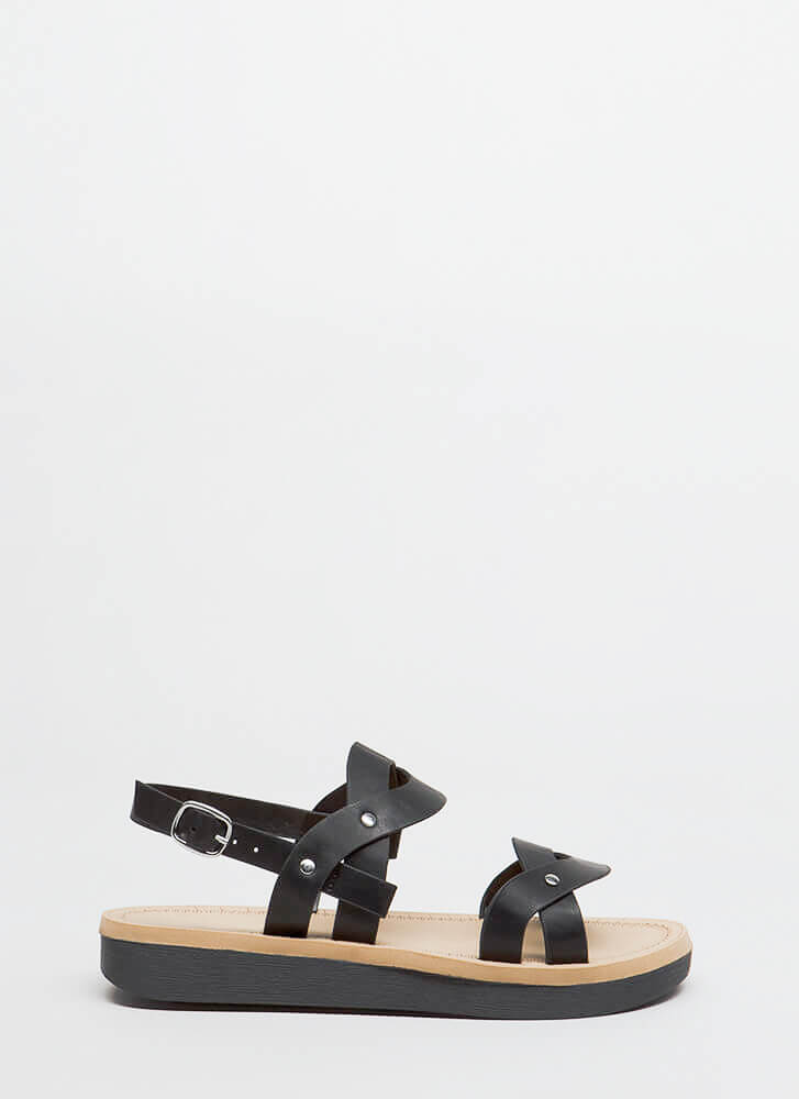 Curve Appeal Strappy Platform Sandals BLACK