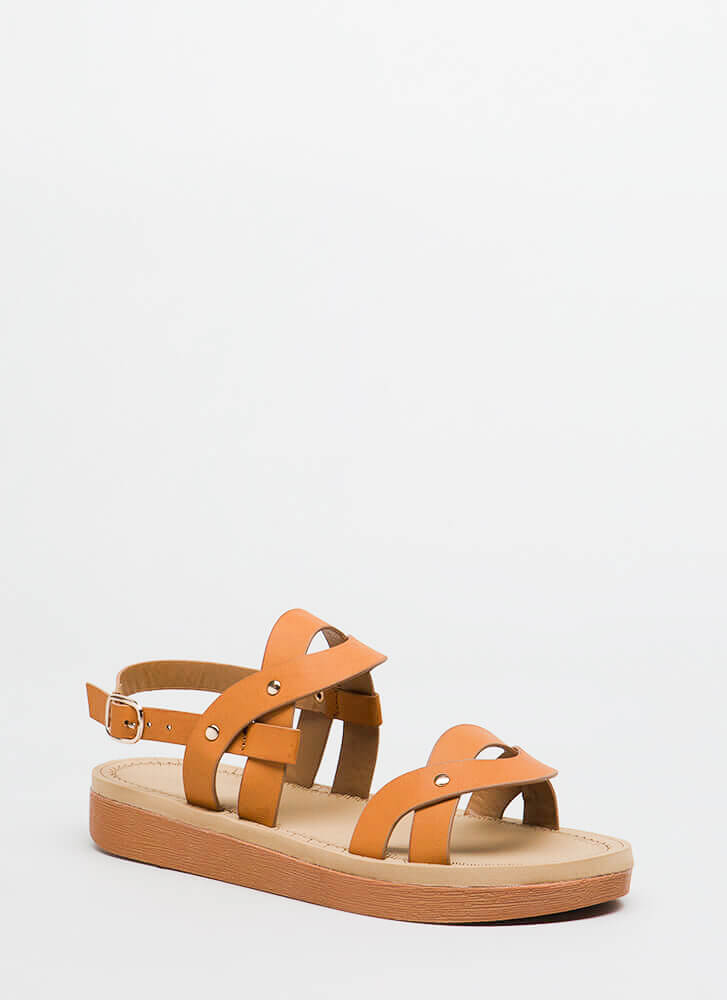Curve Appeal Strappy Platform Sandals TAN