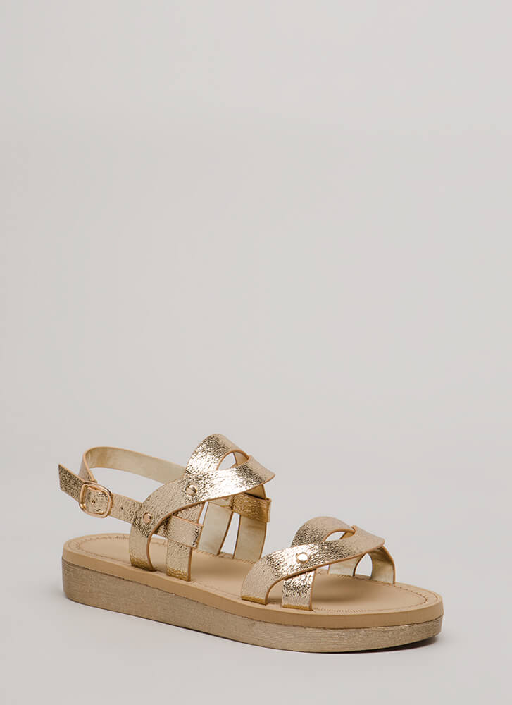 Curve Appeal Strappy Metallic Sandals GOLD