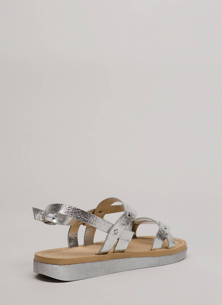 Curve Appeal Strappy Metallic Sandals SILVER