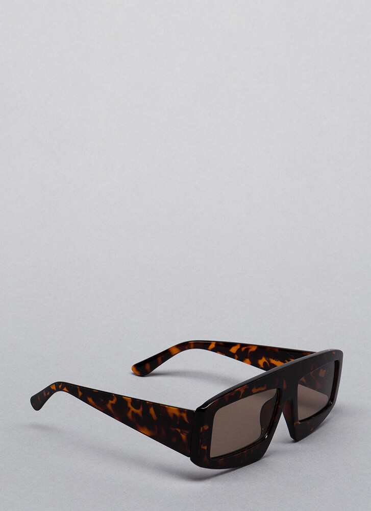 New Dimension Thick-Rimmed Sunglasses BROWN
