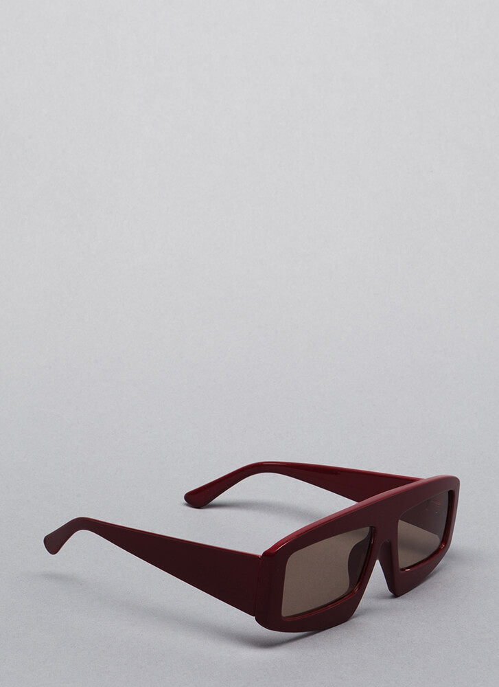 New Dimension Thick-Rimmed Sunglasses BURGUNDY