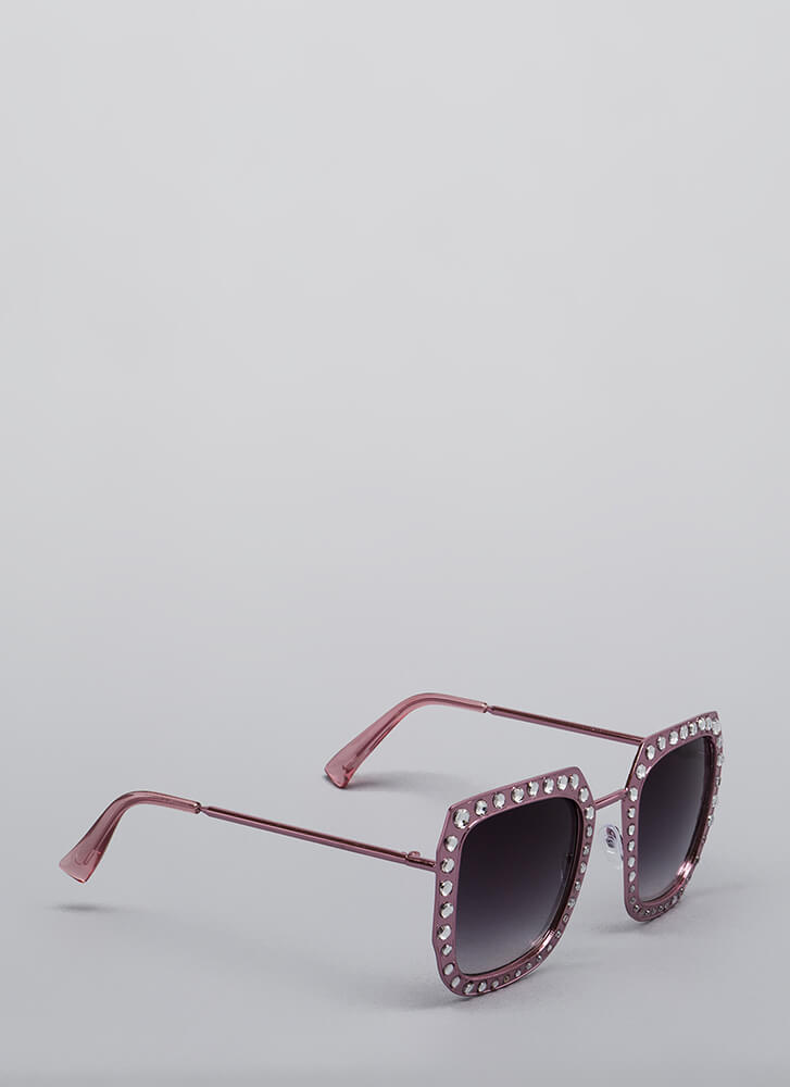 Lights Camera Action Jeweled Sunglasses PINK