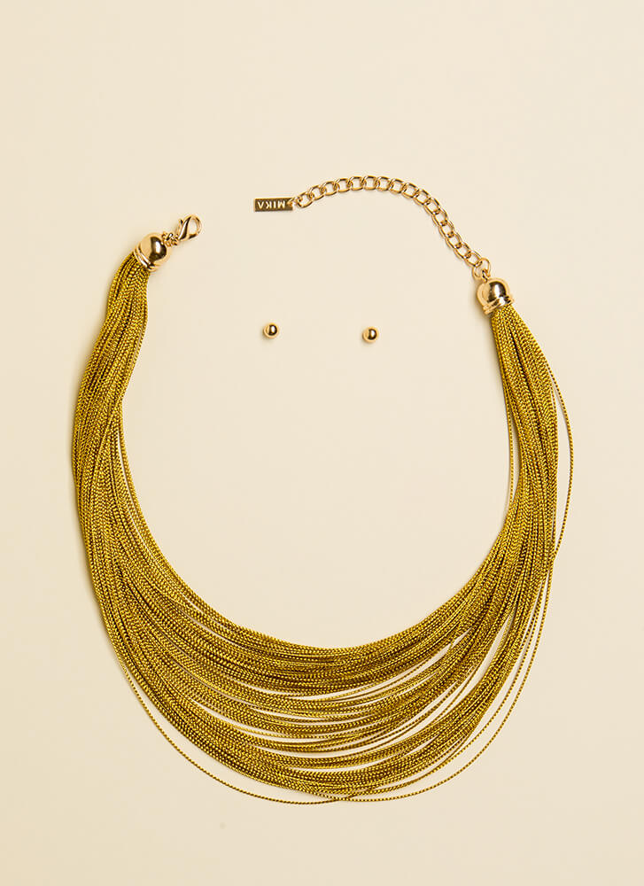 Thin Line Draped Chain Necklace Set GOLD