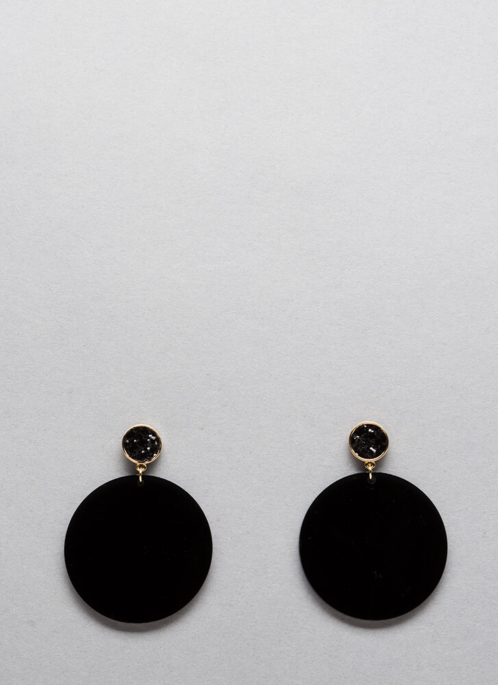 New Disc-overy Sparkly Round Earrings BLACK