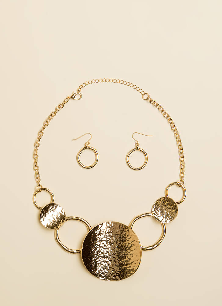 Come Round Ring And Disc Necklace Set GOLD