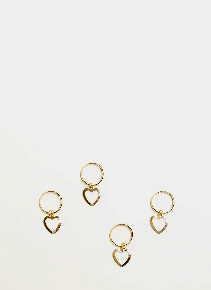 All My Hearts Cut-Out Hair Ring Set GOLD
