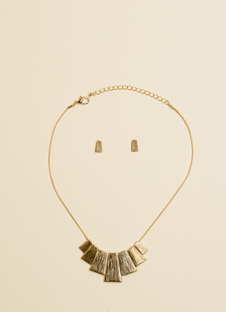 Step Up To The Plate Necklace Set GOLD