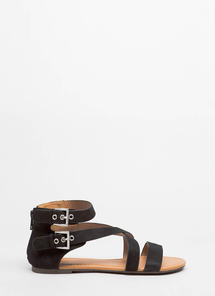 Forever Strappy Double-Buckled Sandals BLACK