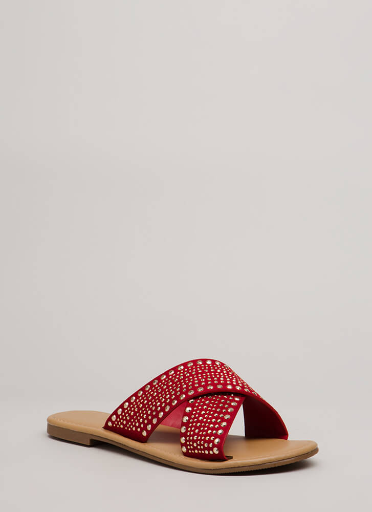 What A Stud Embellished Slide Sandals BRIGHTRED