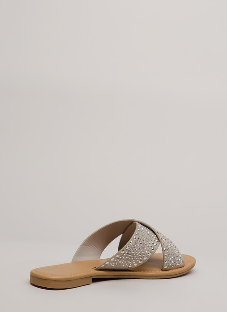 What A Stud Embellished Slide Sandals LTCLAY