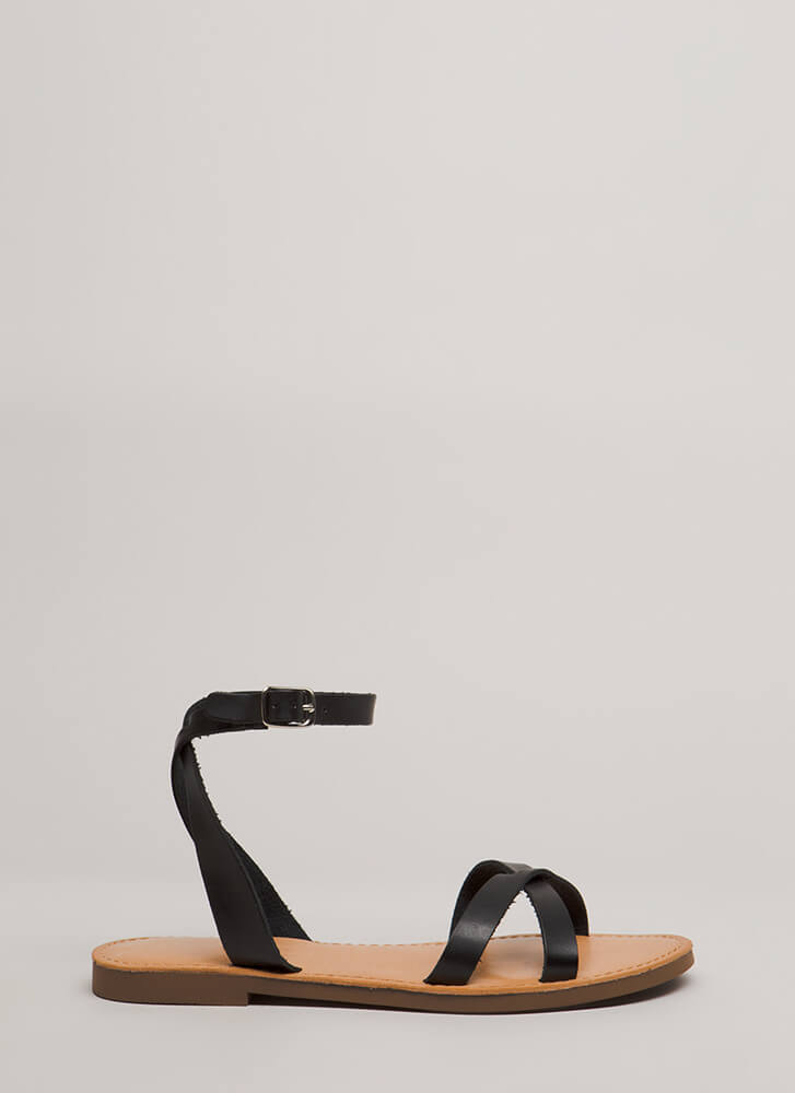 Strappy Holidays Faux Leather Sandals BLACK