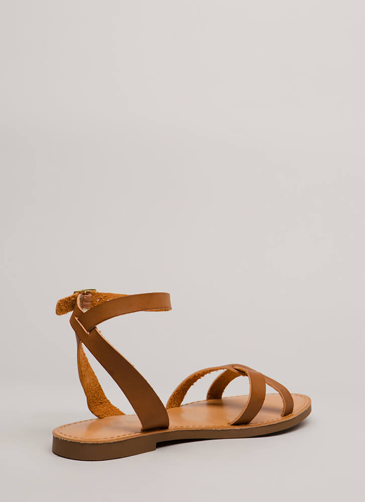 Strappy Holidays Faux Leather Sandals TAN