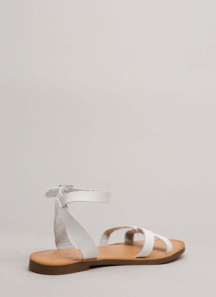 Strappy Holidays Faux Leather Sandals WHITE