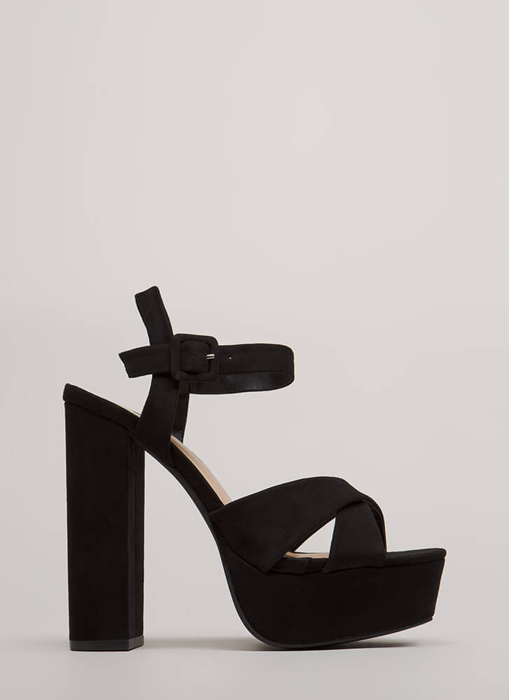 Serious Business Chunky Platform Heels BLACK
