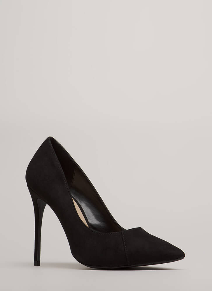 Killer Heels Pointy Faux Suede Pumps BLACK (You Saved $15)