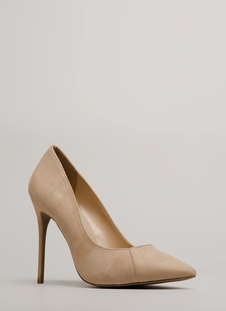 Killer Heels Pointy Faux Suede Pumps NATURAL