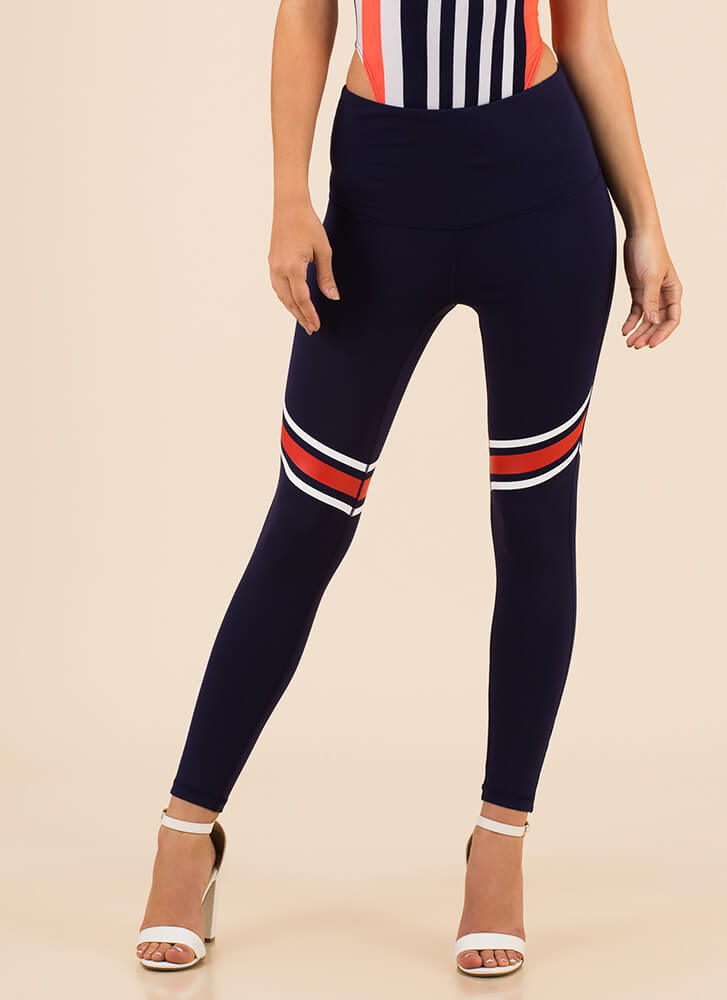 Dash Off Pocketed Striped Leggings NAVY (Final Sale)