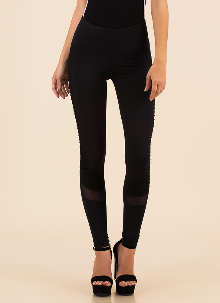 Run Out Pocketed Mesh Accent Leggings BLACK