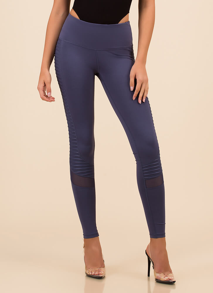 Run Out Pocketed Mesh Accent Leggings DENIM