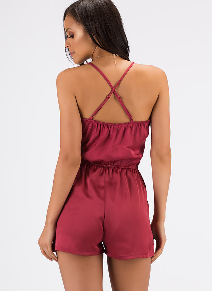 Silky Pajamas Strappy Satin Romper ROUGE