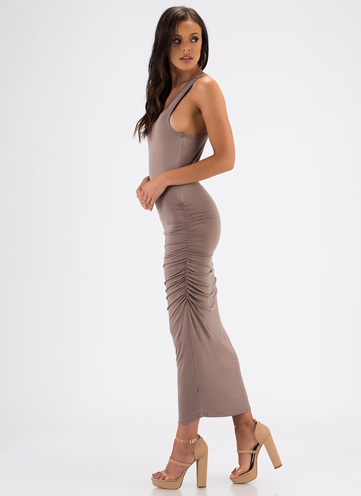 Tanks For Everything Ruched Maxi Dress ASH