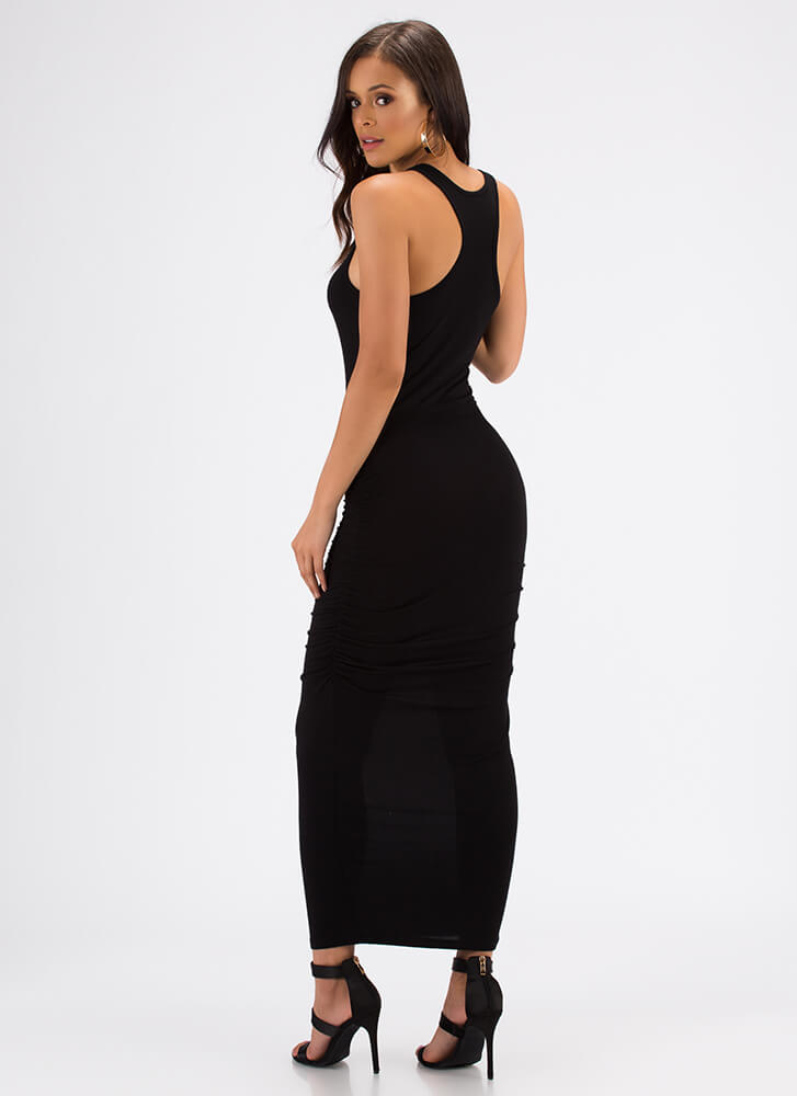 Tanks For Everything Ruched Maxi Dress BLACK