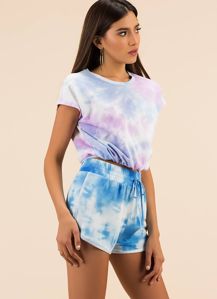 Tie-Dye Training Dolphin Hem Shorts BLUE