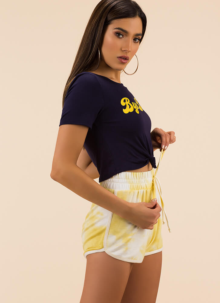 Tie-Dye Training Dolphin Hem Shorts YELLOW (You Saved $10)