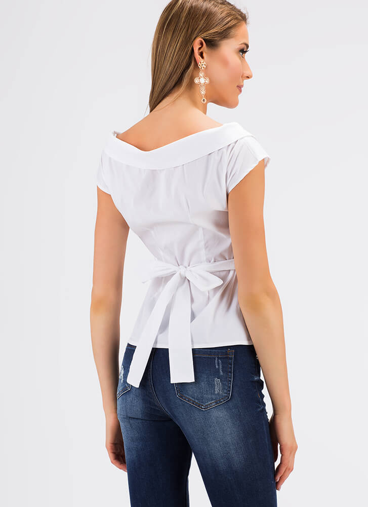 Collar Back Girl Tied Wrapped Blouse WHITE (Final Sale)