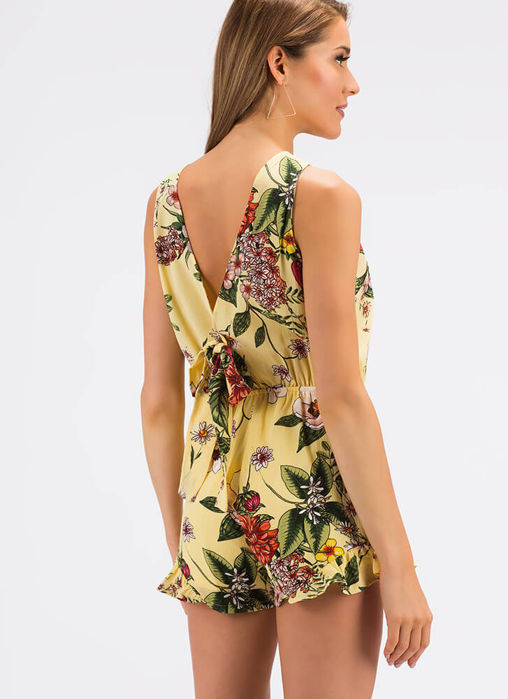 Botanical Gardens Ruffled Floral Romper YELLOW