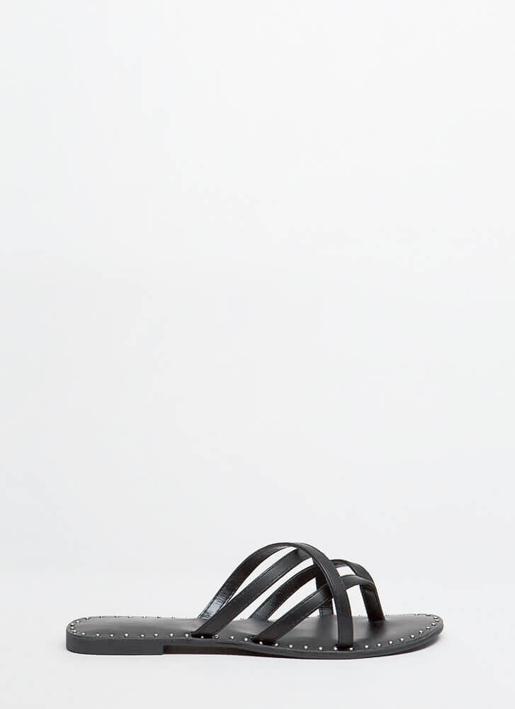 Make Me Strappy Studded Thong Sandals BLACK