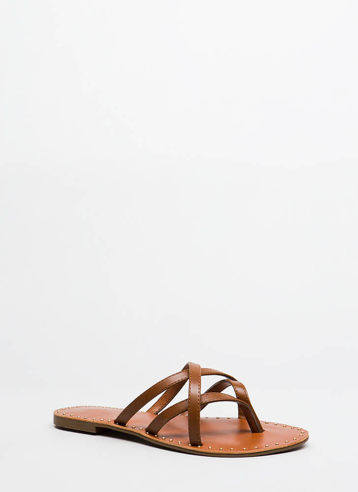 Make Me Strappy Studded Thong Sandals TAN