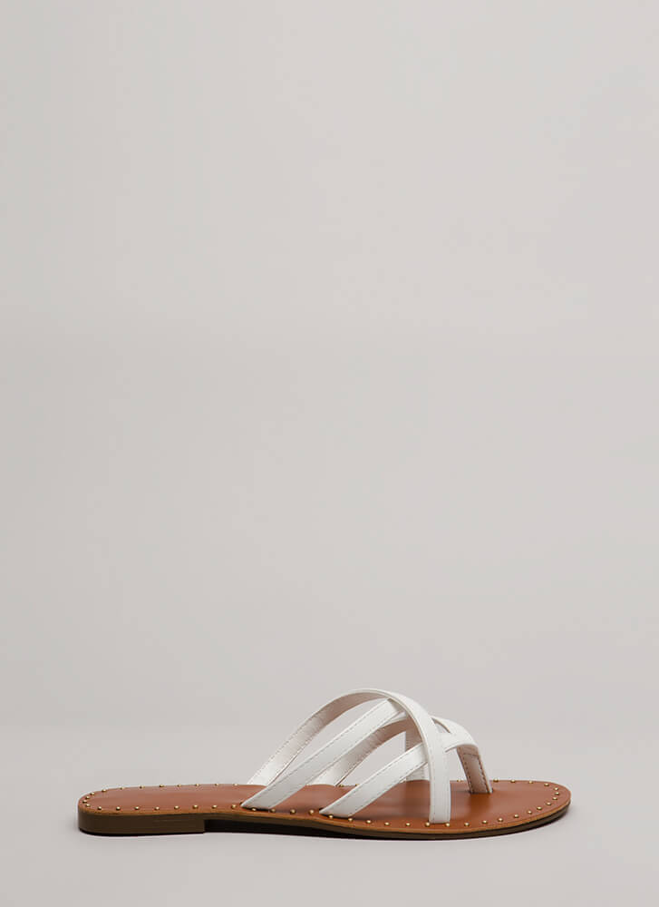 Make Me Strappy Studded Thong Sandals WHITE