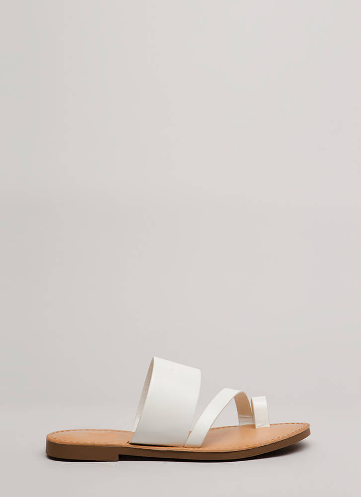 Cool Girl Strappy Faux Leather Sandals WHITE
