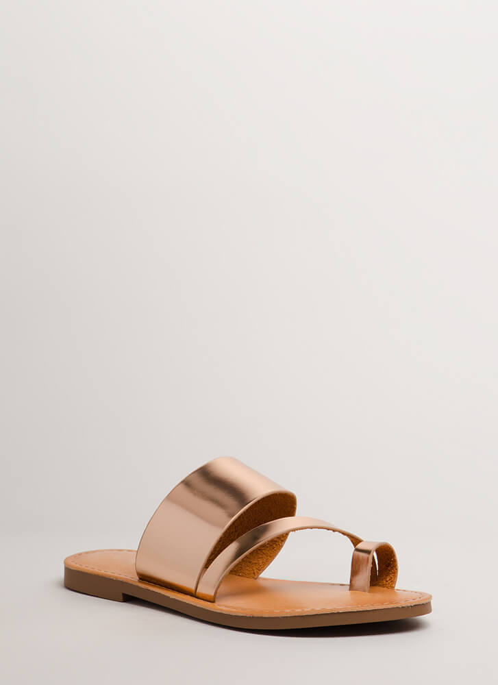 Cool Girl Strappy Metallic Sandals ROSEGOLD