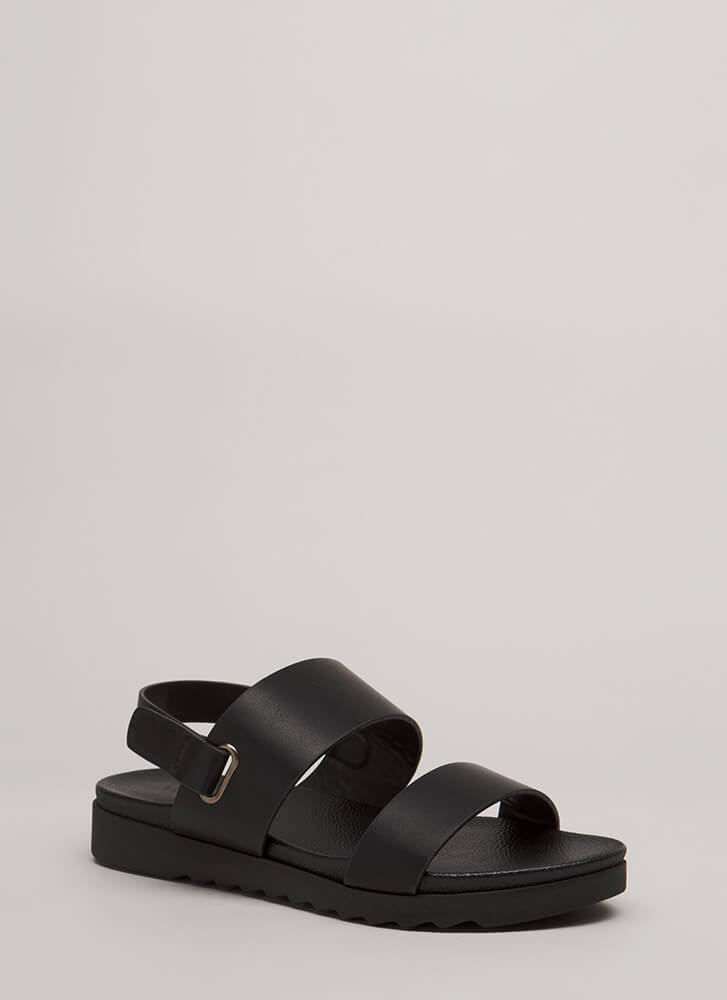Walk Out Wide Strap Faux Leather Sandals BLACK