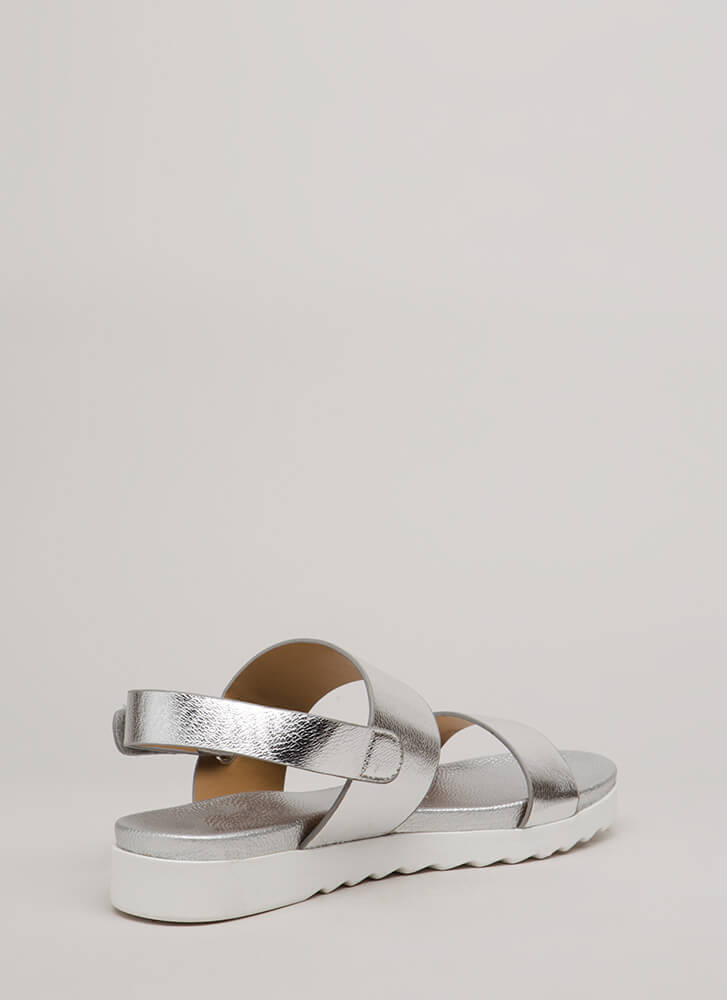 Walk Out Wide Strap Metallic Sandals SILVER (Final Sale)