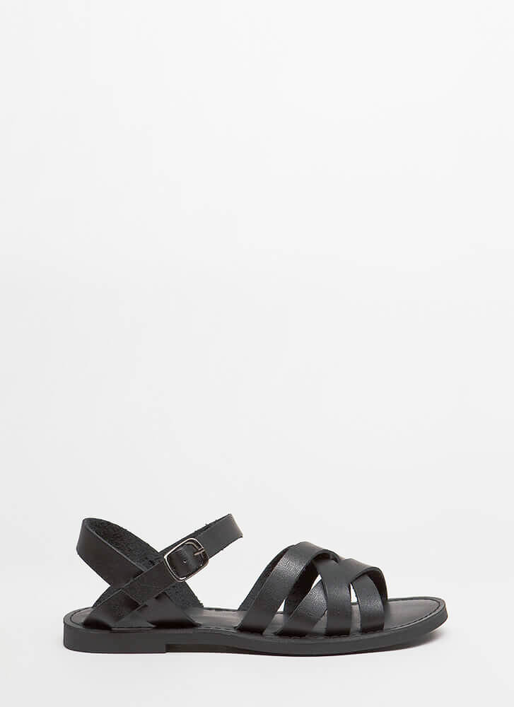 New Trail Strappy Faux Leather Sandals BLACK