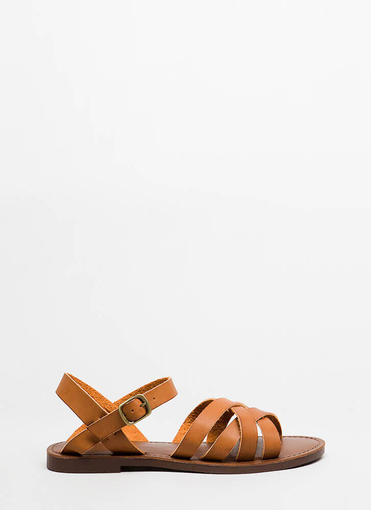 New Trail Strappy Faux Leather Sandals TAN