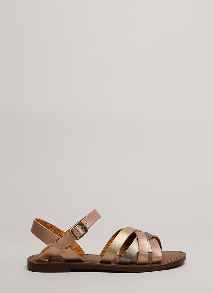 New Trail Strappy Metallic Sandals ROSEGOLD